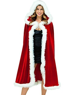 Women's Deluxe Red Velvet Christmas Hooded Cape Cloak Costume
