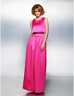 TS Couture Formal Evening Dress - Fuchsia Plus Sizes / Petite Sheath/Column Jewel Floor-length Satin