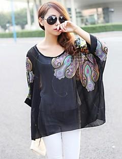 여성의 프린트 라운드 넥 ¾ 소매 블라우스,심플 / 스트리트 쉬크 캐쥬얼/데일리 멀티 색상 여름 반투명