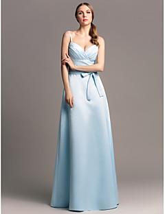 Lanting Bride® Floor-length Satin Bridesmaid Dress Sheath / Column Spaghetti Straps Plus Size / Petite with Criss Cross