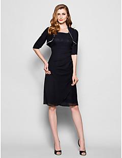 Lanting Bride® מעטפת \ עמוד פלאס סייז (מידה גדולה) / פטיט שמלה לאם הכלה - כולל עטיפה באורך  הברך חצי שרוול שיפון - חרוזים / נצנצים