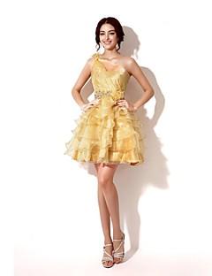 Ball Gown One Shoulder Short/Mini Organza Graduation Dress