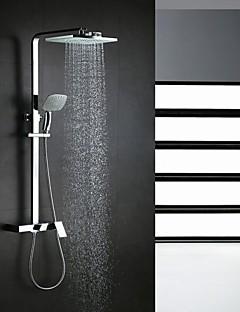 """Kortárs Zuhany rendszer Vízesés Zuhany """"eső""""szórófej Kézi zuhanyzót tartalmaz with  Kerámiaszelep Egy fogantyú három lyuk for  Króm ,"""