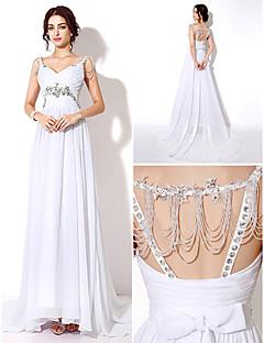 웨딩 드레스 시스/컬럼 스위프/브러쉬 트레인/바닥 길이 스트랩
