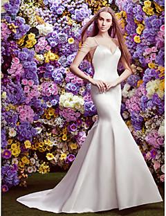 Lan Ting Trumpet/Mermaid Wedding Dress - Ivory Chapel Train V-neck Lace / Satin