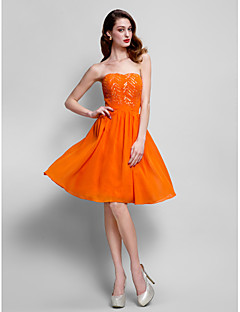 TS Couture® Cocktail Party Dress - Orange Plus Sizes / Petite A-line Strapless Knee-length Chiffon