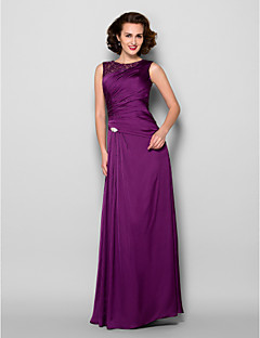 Sheath/Column Mother of the Bride Dress - Grape Floor-length Sleeveless Satin Chiffon