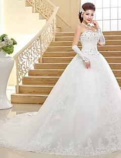 A-line Chapel Train Wedding Dress -Sweetheart Tulle