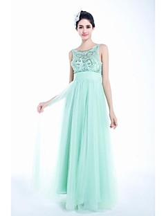 A-line Jewel Floor-length Tulle Prom Dress