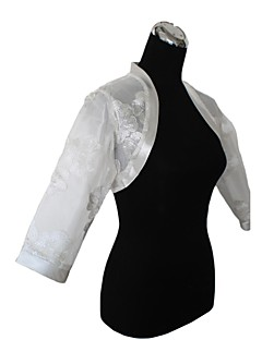 Wraps Wedding Cappotti / Giacche Maniche 3/4 Organza Bianco Matrimonio / Da sera Con fiori Aperte