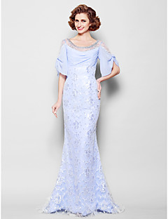 Lanting Trumpet/Mermaid Plus Sizes / Petite Mother of the Bride Dress - Lavender Sweep/Brush Train Half Sleeve Lace