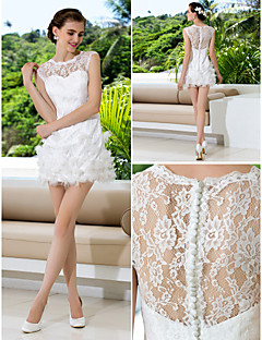 Sheath/Column Plus Sizes Wedding Dress - Ivory Short/Mini Jewel Lace