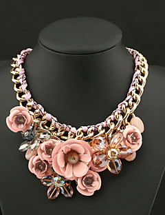 Women's Pendant Necklaces Crystal Flower Gemstone Crystal Alloy Fashion European Statement Jewelry Vintage PlaitedPurple Green Blue