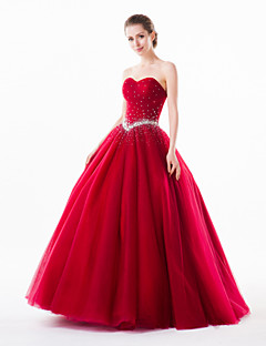 Formal Evening Dress - Burgundy Ball Gown Sweetheart Floor-length Organza/Tulle/Charmeuse