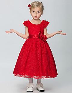 Blumenmädchen Kleid - Baumwolle/Organza/Taft/Lycra - A-Linie - wadenlang - Ärmellos