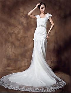 웨딩 드레스 - 아이보리(색상은 모니터에 따라 다를 수 있음) 트럼펫/멀메이드 바닥 길이 스윗하트 레이스/오르간자/샤르뫼즈