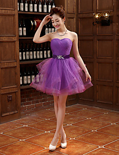 Cocktail Party Dress - Grape Plus Sizes Ball Gown Strapless Short/Mini Tulle
