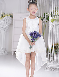 Ballkjole Asymmetrisk Blomst jente kjole - Blonde/Sateng/Tyll Ermeløs