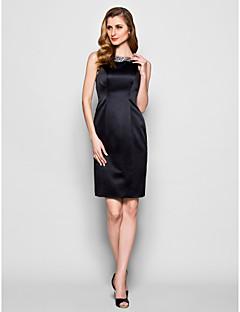 Vestido Para Mãe dos Noivos - preto Tubo/Coluna Coquetel Sem Mangas Cetim