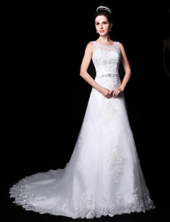 Trumpet/Mermaid Wedding Dress - White Court Train Jewel Lace/Organza/Charmeuse