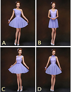 Short / Mini Bridesmaid Dress - Lace-up Sheath / Column High Neck / Jewel / One Shoulder / V-neck with Flower(s) / Lace / Sash / Ribbon