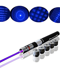 OXLasers OX-B0053 Pen Shaped 5 in 1 Star Cap Blue Purple Laser Pointer (5mw, 405nm, 2*AAA Batteries, Black)