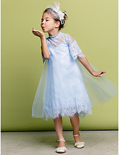 Dress - Sky Blue A-line High Neck Knee-length Tulle