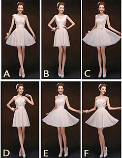 Short / Mini Mix & Match Sets / Lace-up Bridesmaid Dress - Sheath / Column Halter / High Neck / Jewel / One Shoulder / Strapless / V-neck