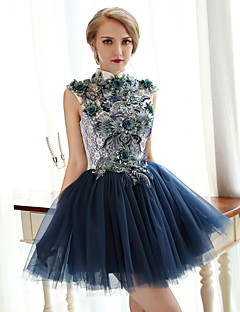 Homecoming Cocktail Party Dress - Ink Blue A-line High Neck Short/Mini Lace/Tulle