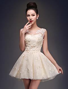 칵테일 파티 드레스 공주 스쿱 숏 / 미니 새틴 / 튤 와 아플리케 / 레이스