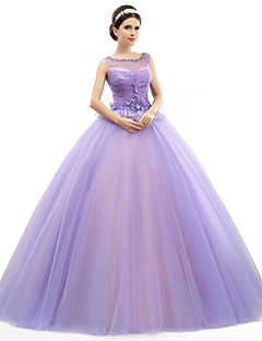 Formal Evening Dress - Lavender Ball Gown Jewel Floor-length Organza/Tulle/Charmeuse