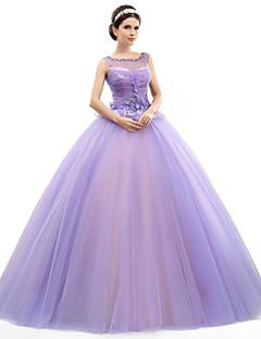 Golvlång Organza/Tyll/Elastiskt Satängliknande Siden Formell Kväll Klänning - Lavender Ball Gown/Askunge Juvel