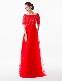 Vestido - Vermelho/Rosa Pérola Festa Formal Tubo/Coluna Quadrado Sweep / Brush Train Tule/Charmeuse