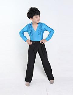 Dança Latina Roupa Crianças Actuação / Treino Poliéster Manga Comprida Natural Calças / Top S:78cm,M:82cm,L:84cm,XL:88cm,XXL:92cm