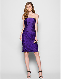Sheath / Column Plus Size / Petite Mother of the Bride Dress Knee-length Sleeveless Lace / Taffeta with