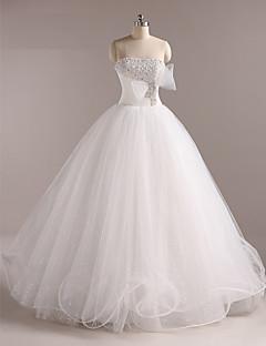 웨딩 드레스 - 화이트 볼 가운 바닥 길이 튜브탑 튤