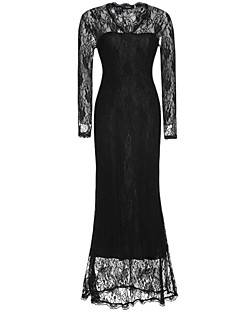 Women's Sexy Casual Party V Neck Lace Maxi Dress