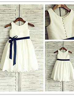 A-Lijn - Juweel - Bloemenmeisje jurk ( Taf ) - Thee lengte
