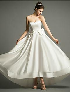 웨딩 드레스 - 아이보리(색상은 모니터에 따라 다를 수 있음) A 라인 비대칭 스윗하트 사틴