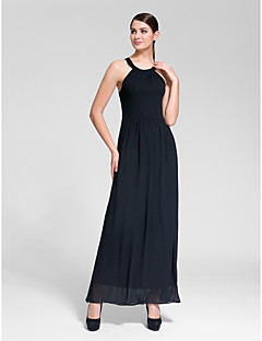 Formal Evening Dress - Black Sheath/Column Jewel Floor-length Polyester