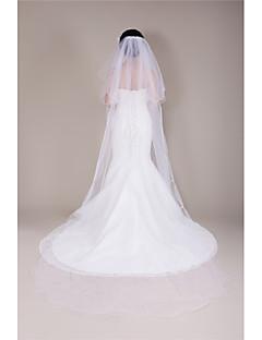 Vjenčani velovi Two-tier Katedrala Burke Cut Edge Til Bijela Bijela / Slonovača / Bež