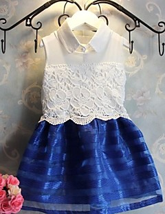 Girl's Jacquard Dress,Polyester / Lace All Seasons Blue / Red