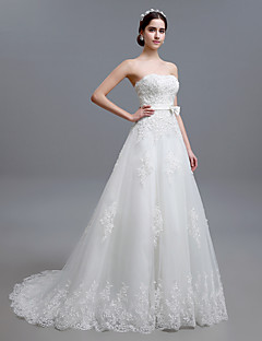 A-line Petite Wedding Dress Sweep / Brush Train Strapless Tulle with