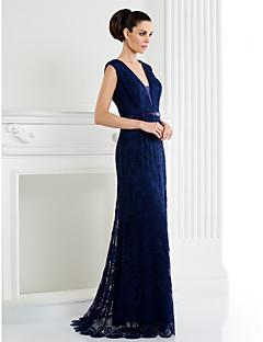 homecoming ts alta costura vestido de noche formal - / de marfil de una línea de barrido de cuello v / cepillo tren encaje azul marino oscuro
