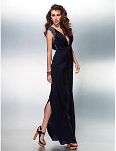 Formal Evening Dress - Dark Navy Sheath/Column V-neck Floor-length Satin Chiffon