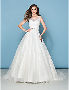 Lan Ting Ball Gown Wedding Dress - Ivory Chapel Train Scoop Tulle