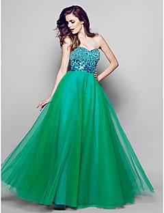 공식적인 저녁 couture® TS는 장식 조각이있는 줄 연인 바닥 길이 오간자 드레스