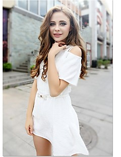 Sexy/Party V-Ausschnitt - Kurzarm - FRAUEN - Kleider ( Kunstseide )