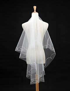 웨딩 면사포 한층 팔꿈치 베일 펜슬 가장자리 59.06 in (150cm) 명주그물 / 레이스 아이보리