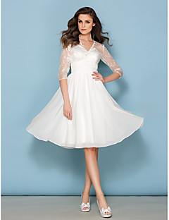 A-line Wedding Dress - Ivory Knee-length V-neck Chiffon/Lace